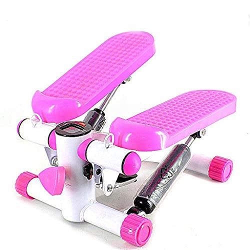 PAKUES-QO Mini Stepper, Fitness Stair Stepper - Portátil Twist Stair Step, Máquina De Ejercicio Físico Pantalla LCD Y Duradera Y Cómodos Pedales (Color: Rosa)