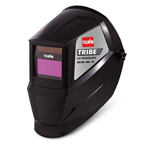 Telwin 802837 Tribe Maschera Automatica per Saldatura MMA/Mig-Mag/Tig, 0.1 V, Nero