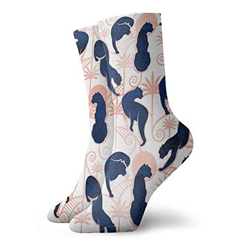 Caswyy Socks Calcetines Deco Panthers - Calcetines de invierno para mujer y hombre, diseño de fondo blanco, azul marino y rosa de metal largo 30 cm