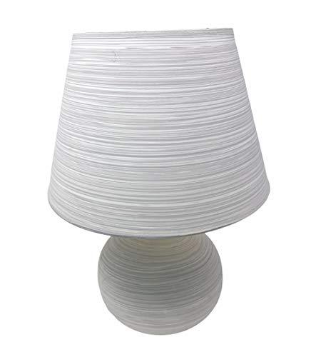 Vetrineinrete® Lume in ceramica moderno lumetto da comodino abat jour lampada da tavolo paralume attacco e14 726354 (Grigio Chiaro)