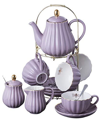 Jusalpha Fine China 8 OZ Purple Coffee Cup/Teacup, Saucer, Spoons, Teapot and Creamer set, 17-Pieces (FD-TW17PC SET, Purple)