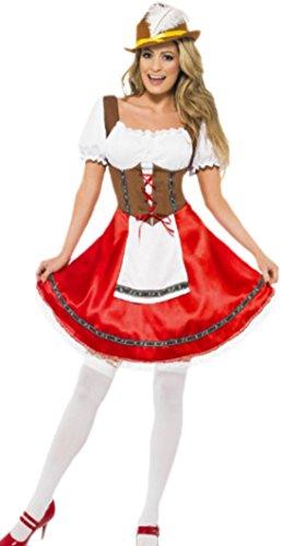 erdbeerloft - Damen Dirndl Kostüm mit Kleid und Schürze Karneval Fasching, 38, Rot