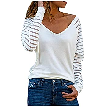 LEXUPA Casual/Comfortable/Sexy/Women Spring Fashion V-Neck Stripe Loose Printed Patchwork Blouse Tops Pullover White