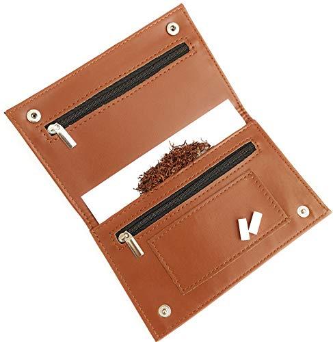 Porta tabacco con porta filtri e contenitore per cartine, portatabacco marrone noce, 2^ generazione, sottile e leggero. Portafoglio, Porta documenti, Portamonete, Porta carte di credito