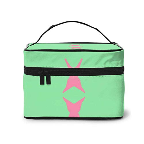 Vanity et Trousses à Maquillage Fish Fish Green Pink Fish Fabric (6156) Travel Makeup Bag Portable Makeup Boxes for Women Cosmetic Case Storage Organizer Travel Daily Carry