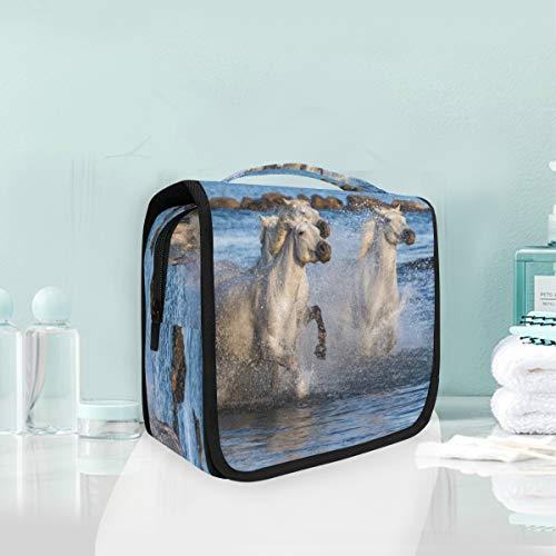 Make-up cosmetische tas wit camargue paarden draagbare opslag reizen toilettas