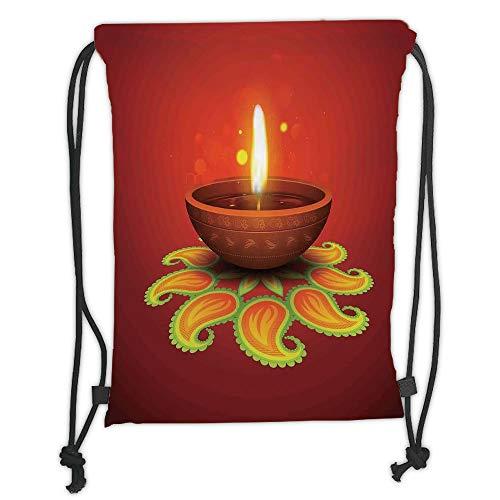 Fevthmii Kordelzug-Rucksäcke, Diwali, Tribal religiöse Kunst Feier Kerze Feuer mit Balken und Paisley Kunstdruck, dekorativ, orange-gelb, weicher Satin, 5 Liter Fassungsvermögen, verstellbare Schnur