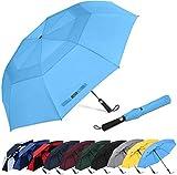 G4Free Paraguas de golf portátil de 62 pulgadas, apertura automática, grande, con doble toldo ventilado, resistente al viento, impermeable, paraguas deportivo