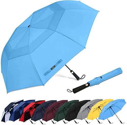 G4Free Tragbarer Golf-Regenschirm, 155,7 cm, extra groß, zusammenklappbar, automatisches Öffnen, doppelt belüftet, winddicht, wasserdicht, Regenschirme