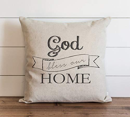 God Bless Our Home - Funda de almohada para sofá, banco, cama, decoración del hogar, 26 x 26 pulgadas
