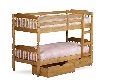 BEDS U LIKE 3'0 Spindle Bunk Bed in Waxed Colour with 2 x Flex 1000 Mattresses and 2 Storage Drawers
