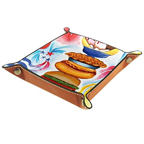 YATELI Kleine Aufbewahrungsbox,Herren-Valet-Tablett,Patriotisches Picknick Dekorativer Sommer BBQ Grill 4. Juli Party feiern USA,Leder Catchall Organizer für Coin Box Key Schmuck