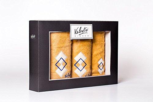 Valentini Bianco Set 3 Serviettes avec LA Broderie, Couleur Beige - IDÉE Cadeau Linge DE Maison Serviette