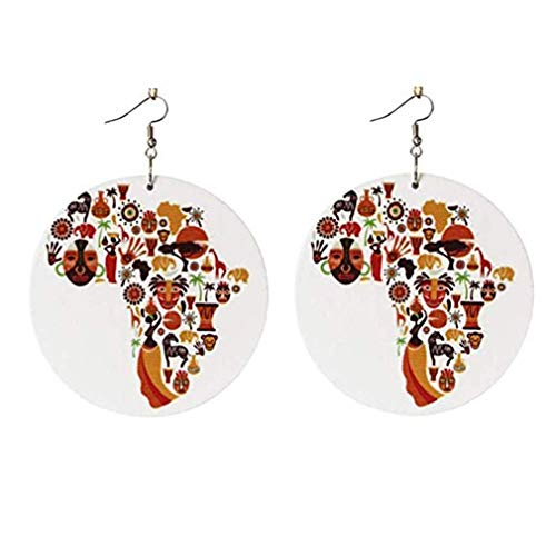 PULABO Colorful Wooden African Map Earrings Hook Drop Dangle Earrings Round Pendant Jewelry Charm for Ladies and Girls Adorable Quality and Practical