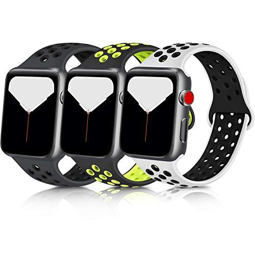 Meliya コンパチブル Apple Watch バンド アップルウォッチ バンド シリコン スポーツバンド 交換バンド 柔らかい 通気性 iWatch series 6/5/4/3/2/1に対応 (42mm/44mm M/L, 3色セット 暗灰/黒+黒/緑+白/黒)
