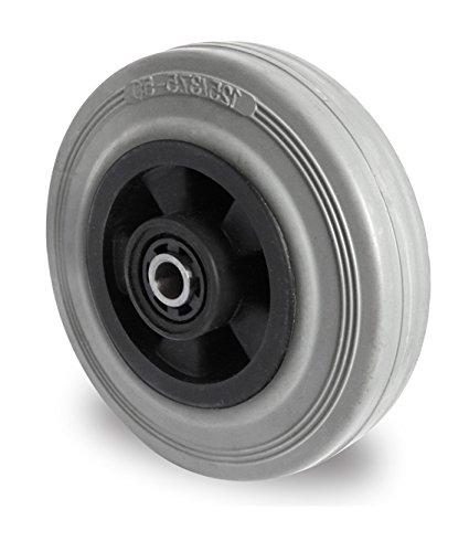 Rad 125 mm Gummi grau-spurlos Rollenlager mit Achszubehör M10