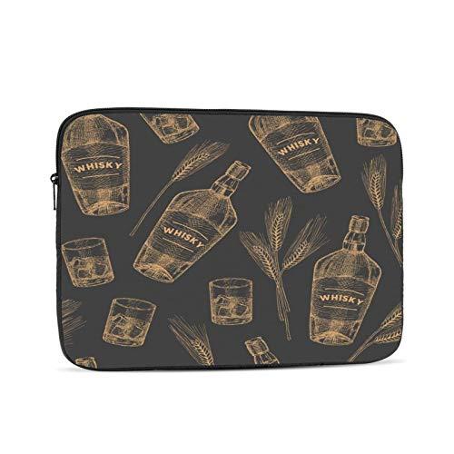 Funda para portátil Gráfico Alcohol Whisky Patrón Comida Bebida Degustación irlandesa Barra de mano Diseño de vidrio dibujado Bolsa protectora portátil con cremallera para tableta, bolsa protectora pa