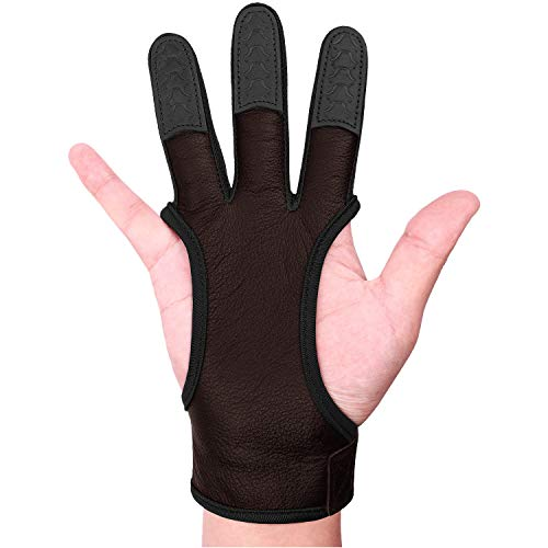 FitsT4 Leather Archery Gloves Three Finger Hand Guard Protective Glove Safety Archery Shooting Gloves Dark Brown L