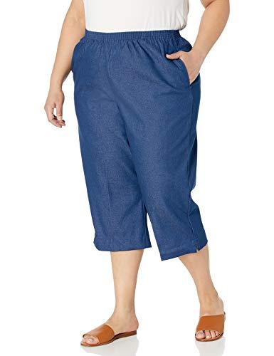 Alfred Dunner Women's Size All Around Denim Plus Capris Pants-Elastic Waist Jeans, 20W