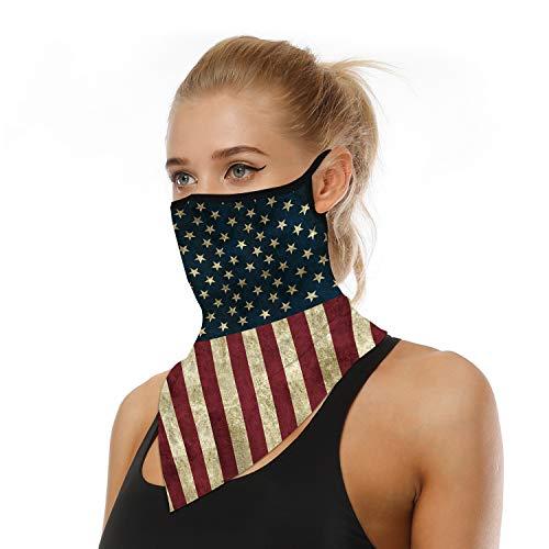 Lazyboo Unisex Ear Loops Face Mask Bandanas Neck Gaiter Mask Cooling Breathable Face Cover Multifunctional Headband Headwear Tube Mask Scarf Sun UV Wind Dust Protection (US Flag)