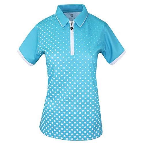 Island Green Damen Golf Damen Poloshirt, Sublimierter Reißverschluss, atmungsaktiv, Feuchtigkeitstransport, flexibel, tiefes Pool/Weiß, 8