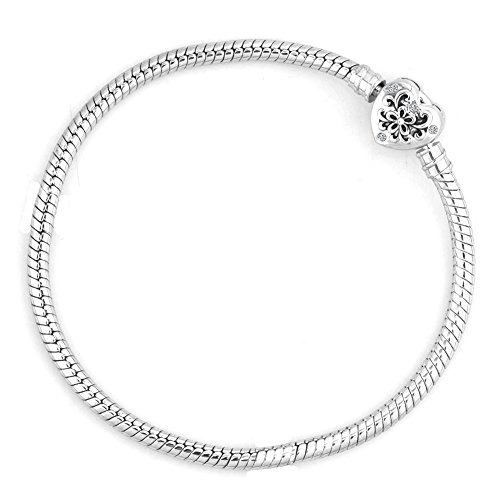UNIQUEEN Flower with Crystal Birthstone Heart Clasp Snake Chain Bracelet for European Charms