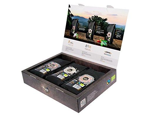 Geschenkset 3 Premium-Sorten Kaffeebohnen gemahlen je 250g von C&R COFFEE AND RELAX, extrem hochwertiger premium Bio und Fairtrade Kaffee -> offiziell zertifizierter Filterkaffee