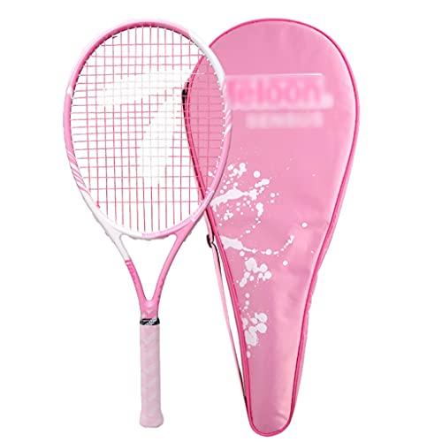 Raquetas De Tenis De Fibra De Carbono Tenis para Principiantes Rosa Tenis Individual con Cuerda Tenis con Absorción De Impactos (Color : Pink, Size : 68.5cm)