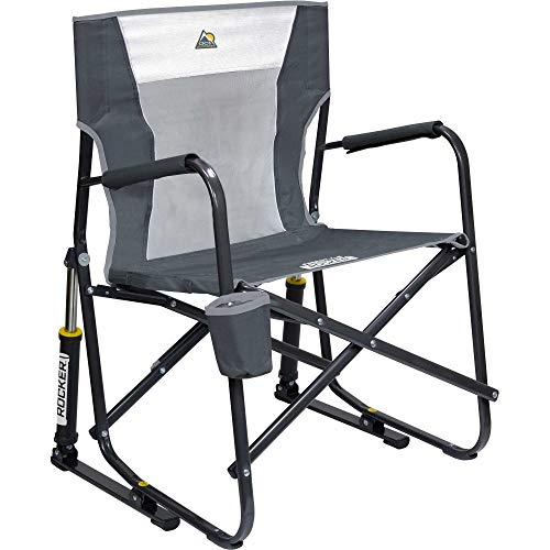 GCI Outdoor Freestyle Folding Chair Outdoor Rocking Camp Portable Lightweight Rocker Mesh Chair (Charcoal)