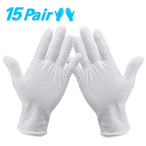 Baumwollhandschuhe Weiß,【15 Paar】 Baumwolle Handschuhe,Care Schutzhandschuhe,Weiße Stoff Handschuhe,Bequem und Atmungsaktiv Arbeitshandschuhe, für Hautpflege, Schmuck Untersuchen, Tägliche Arbeit
