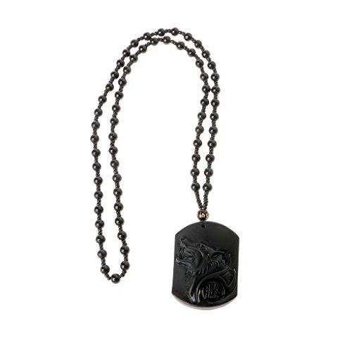 Team99 Collar con colgante de cabeza de lobo de obsidiana auténtica tallado a mano