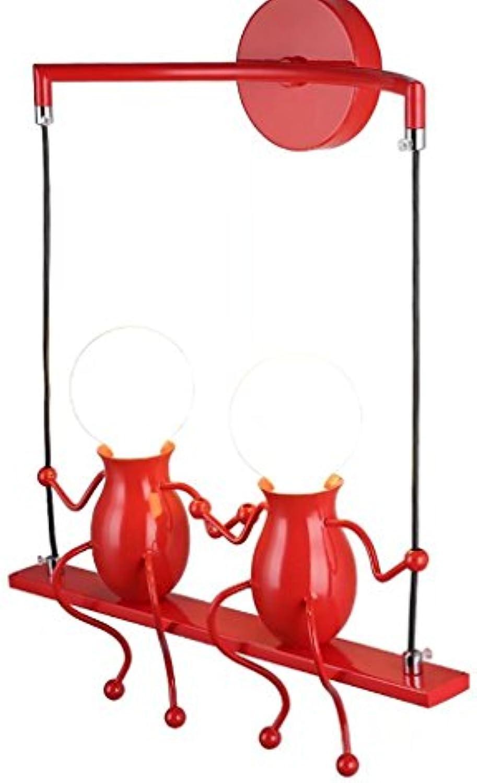 Modeen Kreative Doppelkpfe Eisen Puppen Decken Pendelleuchten Einfache E27 Lichtquelle Kronleuchter Küche Wohnzimmer Schlafzimmer Korridor Gang Treppe Balkon Leuchten (Farbe   rot)