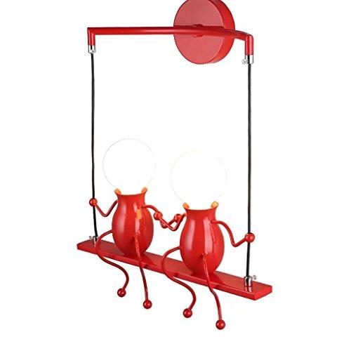 Modeen Kreative Doppelköpfe Eisen Puppen Decken Pendelleuchten Einfache E27 Lichtquelle Kronleuchter Küche Wohnzimmer Schlafzimmer Korridor Gang Treppe Balkon Leuchten (Color : Red)