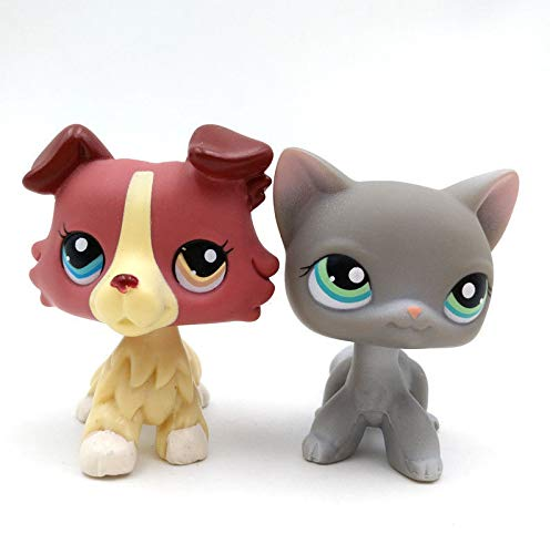 Pet Shop 2pcs/Lot Littlest LPS Toy Gray Shorthair Cat Pink Collie Dog