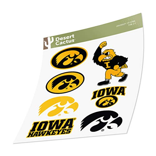 University of Iowa Hawkeyes Sticker Vinyl Decal Laptop Water Bottle Car Scrapbook (Sheet - Type 2)