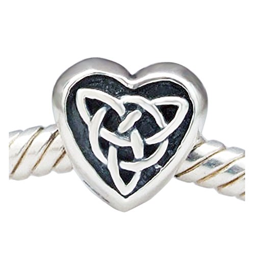 Shining Charm Heart 925 Sterling Silver Celtic Knot Charms for Bracelets European Bead for Women Girls Gifts Jewellery