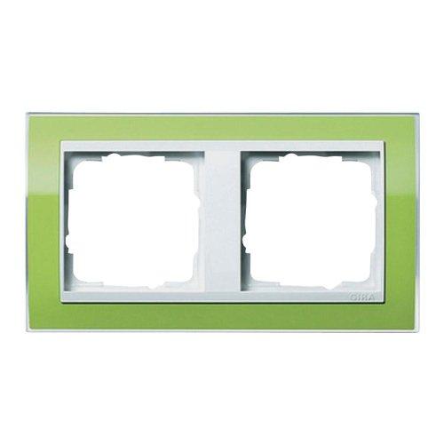 Gira 0212743 Abdeckrahmen 2-Fach Event klar grün mit reinweißem Zwischenrahmen
