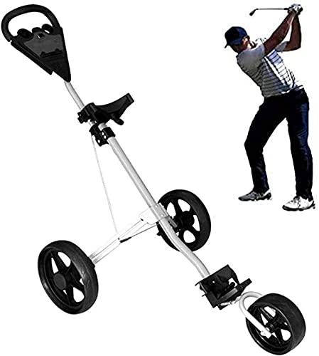 TUHFG Carrito de Golf Plegable de jaleo/Empuje del Golf, con ángulo de Mango Ajustable, scorecard, Freno de pie, Soporte para Bebidas, Carro de Golf Ligero fácil de Abrir y Cerrar