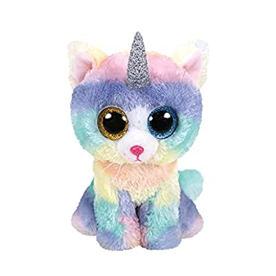 TTy Beanie Baby Soft Toy Multicoloured, ty36250 Heather the Unicorn Cat 15cm from AS COMPANY