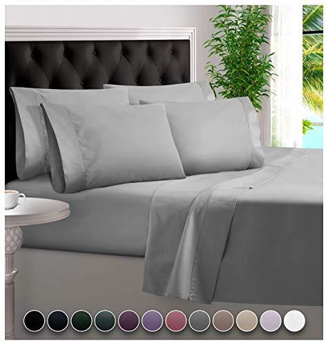 6 Piece Bamboo Sheets 100% Organic Bamboo Sheets Bamboo Bed Sheets Cooling Sheets Deep Pocket Bed Sheets King Size, Light Gray