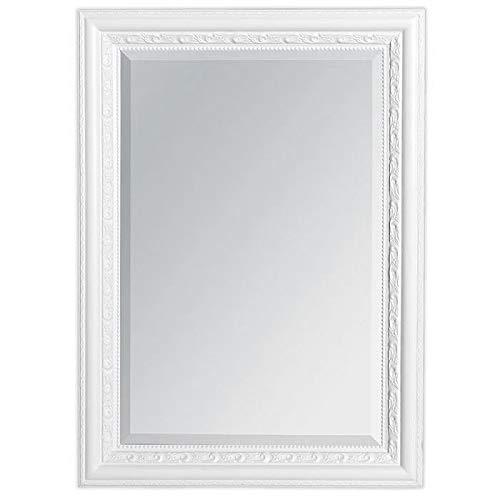 LEBENSwohnART Wandspiegel Argento 70x50cm Pur-Weiß Spiegel Barock Holzrahmen Facette
