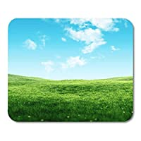 マウスパッドファッションラバーミニ長方形自然空と草新鮮な緑の野原春の下クリアマウスパッドファッションスムーズゲームノートブックコンピュータアクセサリーバッキング