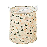 RF-Influx Fruits Printed Freestanding Laundry Hamper Collapsible Large Clothes Basket with Easy Carry Extended Handles for Clothes Toys (Pink Peach)