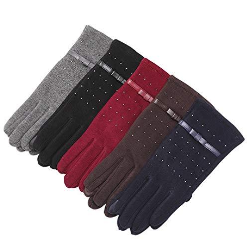 SUNHAO Damenhandschuhe, Nicht Daunen, Winter, warm, Touchscreen-Handschuhe, Mode, Applikationen, volle Fingerhandschuhe