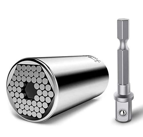 Steckschlüssel KIRNER® Universalschlüssel Universal Nuss Universal-Steckschlüssel Multi Funktions Handwerkzeuge Reparatur Werkzeuge 7-19mm (7-19mm mit Adapter)