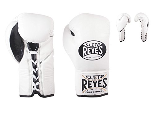 CLETO REYES Offizielle Boxhandschuhe mit angenähtem Daumen, weiß, 226,8 g (8 oz)