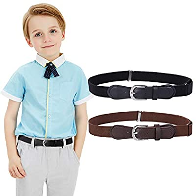 "Kids Elastic Adjustable Belts, Stretch Belts for Boys and Girls with Leather Closure 2 Pack (Suit for Pants Size 20""-28"", Black+Blue)"