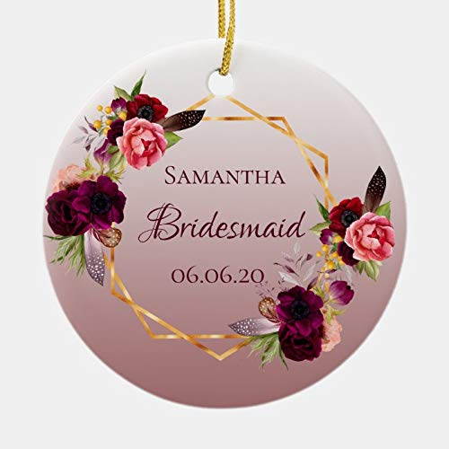 Bridesmaid Cinnamon Rose Florals Burgundy Ornament Personalized 3 Ihch Ceramic Ornament Christmas Tree Decration