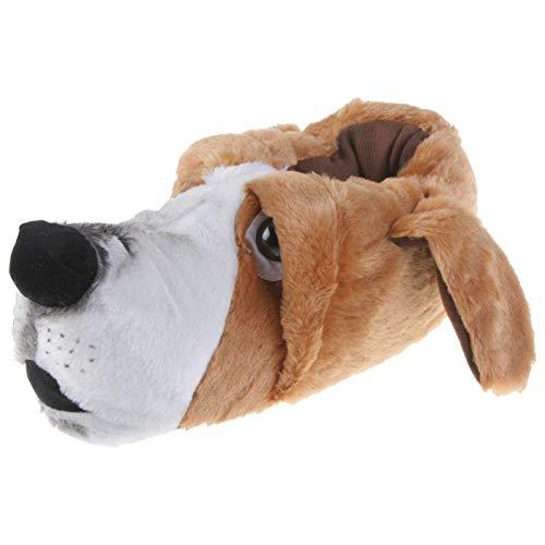 Tierhausschuhe Herren Hausschuhe Basset Hound Hund, Braun, 46/47, TH-Hund-Basset