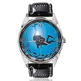 Reloj analógico de Cuarzo con diseño de Peces rodeado de mariscos, Esfera Plateada, Correa de Cuero clásica, para Hombre y Mujer